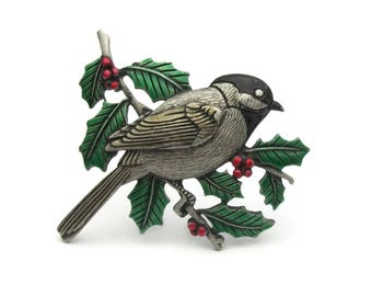 Vintage JJ Jonette Chickadee Christmas Brooch Winter Season Pin - Bird on Holly and Berries Branch - Pewter Silver Tone Red Green