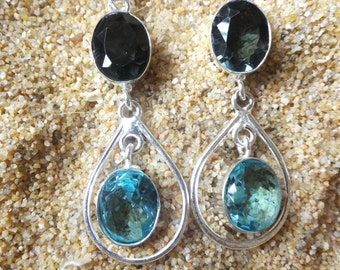 Swiss Blue Topaz and Sterling Silver Earrings 2.4 inches in length