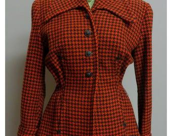 Vintage 1940s  wool jacket black/orange pied de poule Medium