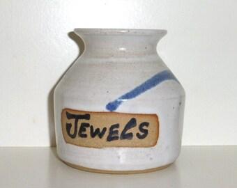 Handmade Pottery Vessel JEWELS Holder with Weird Stamp Jewelry Holder Trinket Jar Jewel Jar