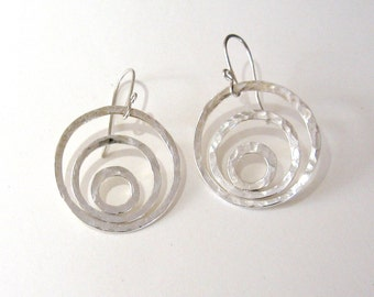 Light of dawn silver earrings Three silver circles dangle earrings