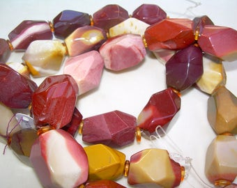 Mookaite, faceted barrel shape, 23mm x 13mm