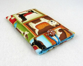Dog cellphone cover,  i phone case, padded pouch,  dog smartphone sleeve, handmade phone pouch