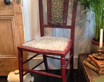 Re-upholstered Vintage Chair Hand Painted with picture inlay