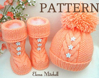 Knitting PATTERN Baby Shoes Baby Set Pattern Baby Booties Baby Hat Pom-Pom Baby Girl Pattern Baby Boy Uggs Baby Beanie Knitted  Baby Shoes