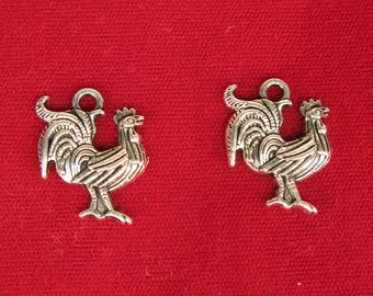 """10pc """"cock"""" charms in antique silver style (BC1217)"""