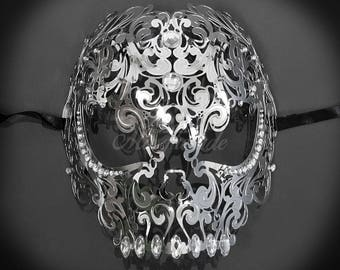 Silver Full Face Skull Mask - Day of the Dead Masquerade Mask - Exquisite Skull Head Laser Cut Masquerade Mask - Metal Mask by 4everstore