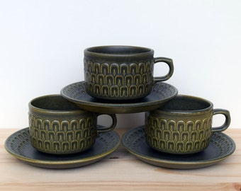 Wedgwood Cambrian green three cups and saucers, made in England
