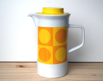 Vintage coffee pot from Johnson Bros, yellow dotty retro Pop Art style from the 1960's