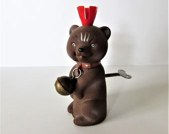 Vintage Rubber East Berlin Teddy Bear - Made In East Germany -  Removeable Key Wind Up. Good Working Order With Maker Marking On Base.