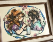 Girl Friends Art - Pastel Etched Marble Hand Painted Decor - Pink Blue Flowers, Best Friends Sharing a Soda - Vintage 80s - Wood Frame