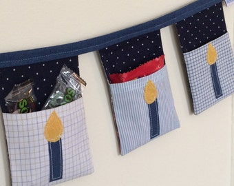 Hanukkah stocking - pennant flags with pockets