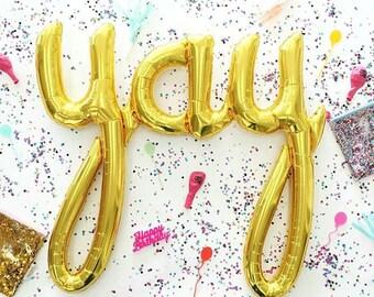 Yay Script Balloon | Metallic Gold | Petite Party Studio