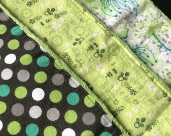 Green Burp Cloths- Set of 3