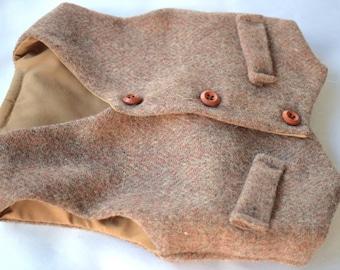Boy Red Toffee Wool Vest - Herringbone pattern