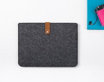 iPad Retina Cover - iPad Sleeve - Felt iPad Case - iPad Retina - Felt and Leather iPad Retina Sleeve - Gray Felt iPad Retina - Apple iPad