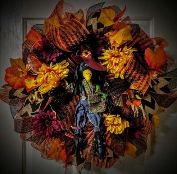 Black Flower And Crow Halloween Wreath: Black Crow Scarecrow Deco Mesh/Burlap Wreath