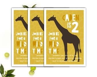 Safari Invitations // Safari Birthday Party invitations // Giraffe Party Invite // 5x7 Printable Safari Animal Party Invitation // The Caden