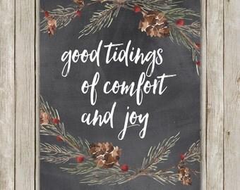 8x10 Christmas Printable, God Rest Ye Merry Gentlemen, Typography Art, Chalkboard Art Poster, Holiday Decor, Festive Art, Instant Download