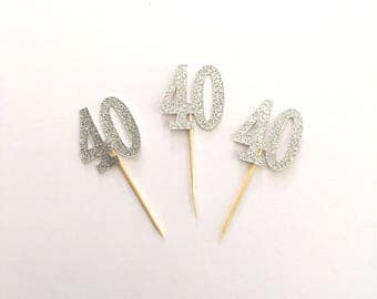 40 Cupcake Toppers / SILVER Glitter 40 cup cake toppers, 40th Birthday Party cake topper decorations x 12