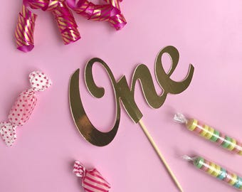 ONE Cake Topper Metallic Gold - First Birthday Cake Topper - Gold One cake topper, 1st Birthday cake Decorations