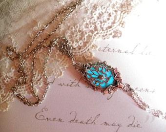 Bat Locket Necklace ~ Haunted Flight~Silver Bat glow in the dark locket in aged silver finish