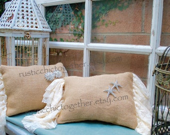 Burlap Pillow Lace ruffles 9x12
