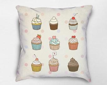 Cupcake Pillow, Cupcake Decor, Food Pillow, Kids Pillow, Cupcake Lover, Baked Goods Pillow, Gift for Baker, Sweets Pillow, Dessert Pillow