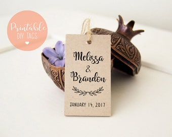 DIY Printable Favor Tags, Printable Wedding Thank You Tags, DIY Wedding Tags, Thank You Favor Tags