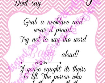 Don't Say Baby Shower Game Pink-Digital Download, JPEG only!