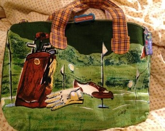 Vintage unique Golf golfing bag/ purse handbag with shoulder strap, plaid English British style Celtic Irish grass meadow Ireland scene