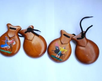 Vintage Handmade Ebony Black Castanets from Spain/Set of 2 Flamenco Dancer Castanets/ Original Castanets/Musical Instrument