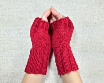 Fingerless Gloves for Kids, red, 6-9 years, arm warmers, wool merino, mittens