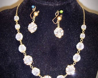 HILLCRAFT Gold Filled Wire  Caged Czech Glass Demi Parure Choker and Earrings