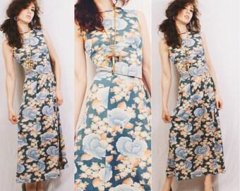 CLEARANCE Vtg 70s Pastel Floral Maxi Dress / 70s does 30s / Long / Sleeveless / Boho Hippie Festival