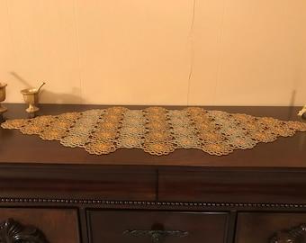 Gold Beaded Crocheted Runner