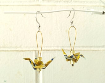 Blue and yellow earrings | Mini origami granes | Stripe pattern | Paper jewelry | Modulo
