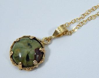 Rainforest Jasper Necklace. Rainforest Jasper Pendant. Rainforest Jasper in Gold Filled Setting.