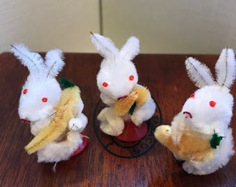 A Trio of Adorable Tiny Vintage Chenille Rabbits