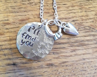 """The Walking Dead inspired- Glaggie """"I'll find you"""" hand stamped necklace/keychain- Glenn Rhee and Maggie Greene"""