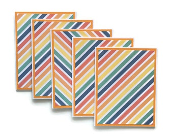 Set of 5 Rainbow Blank Note Cards With Envelopes, Stationary Pack, Greeting Cards, Hand Made, Home Made, Rainbow Theme