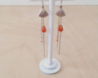Long earrings with Moonstone and carnelian