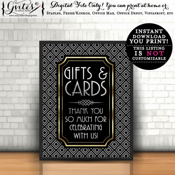 Gatsby gifts & cards sign, 1920s printables, the Great Gatsby party decor, digital signs, art deco, gold and black, rat pack, 8x10. Gvites