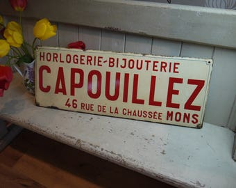 Antique French Enamel Sign - Jewellery Sign - Antique Advertising Sign - Vintage French Sign - Antique Enamel Sign - Wall Decor - Enamelware