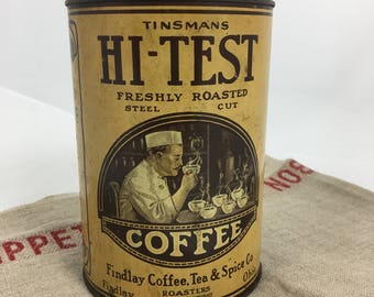 Vintage advertising tin~ Tinsmans HIGH TEST Coffee~1 lb. Findlay OH roasters~inset lid~ farmhouse kitchen decor from MilkweedVintageHome