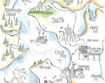 Seattle Wedding Map/ Seattle Artwork
