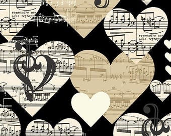 """Hearts and Music Notes-  Quilting Cotton - 45"""" wide [[fat quarter//half hard//by the yard]]"""