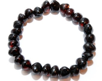 Genuine Baltic Amber Adult Bracelet, Dark Cherry Baroque Amber Beads, Stretch Bracelet, Beaded Bracelet