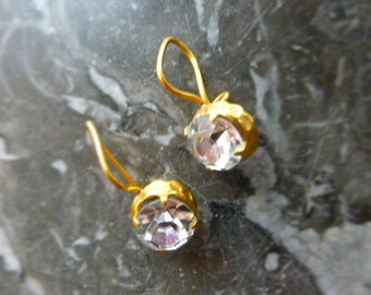 Vintage Soviet Russian Earrings Glass Golden Metal