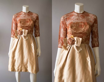 vintage 1950s dress / 50s lace party dress / extra small /